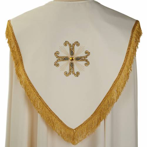 Liturgical cope with gold cross and glass pearl s5