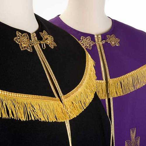 Liturgical cope with gold cross, black or purple s3