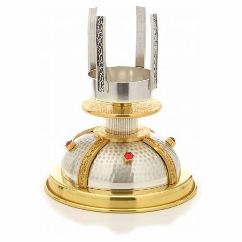 Lucerna per Santissimo in bronzo dorato e argentato martellato s5
