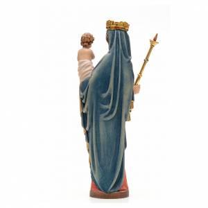 Statue in legno dipinto: Madonna con bimbo e scettro 25 cm legno stile gotico