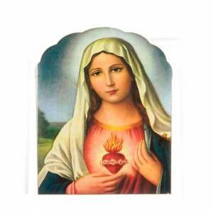Magnets religieux: Magnet bois Sacré Coeur de Marie