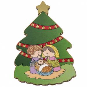 Magnet in wood, pine shaped with Nativity scene s1