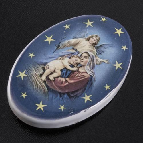 Magnete ovale ceramica Nascità Gesù s2