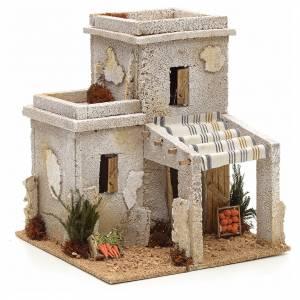 Maison arabe en miniature avec magasin de fruits pour crèche s1