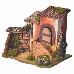 Maison en miniature pour crèche avec feu 17x20x15cm s2