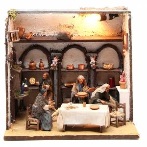 Maison illuminé avec 5 santons 12 cm crèche Naples s1