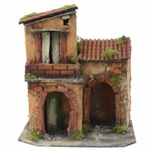 Maisons, milieux, ateliers, puits: Maison rustique pour crèche 30x25x35 cm avec balcon
