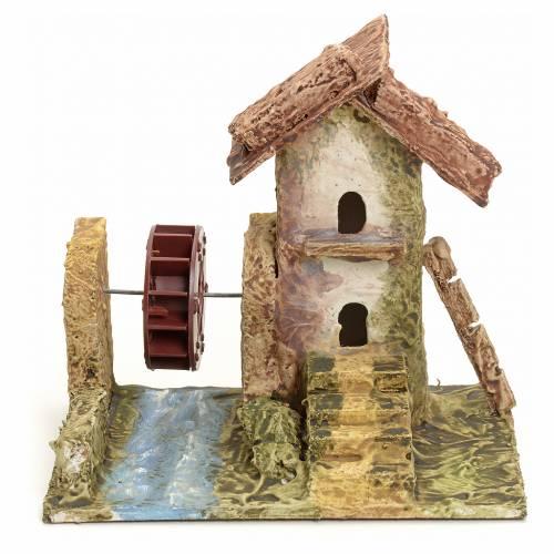 Maison stucquée en miniature pour crèche avec moulin s1