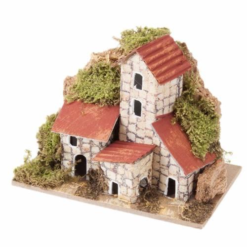 Maisons décor crèche noël assorties 10x6cm s1