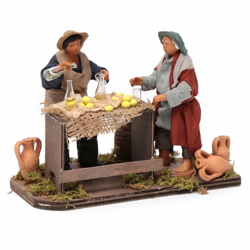 Man selling lemons with stall, Neapolitan nativity figurine 12cm s3