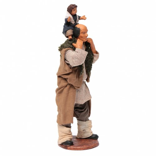 Man with child on his shoulder  nativity scene 14 cm s8