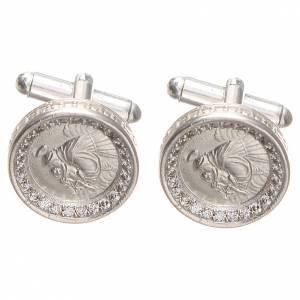 Manschettenknöpfe: Manschettenknöpfe rodinierten Silber 800 Hl. Anton aus Padua rund