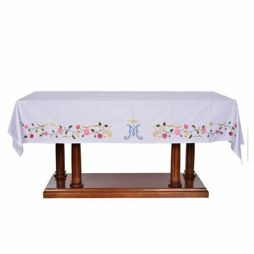 Mantel de altar símbolo mariano 45% algodón, 55% poliéster s1