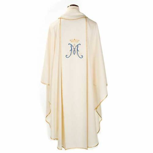 Marian chasuble in wool with Virgin Mary s2