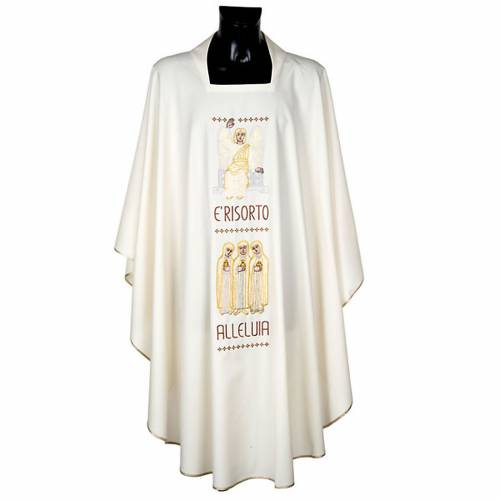 Marian chasuble with stole, angel and cross s1