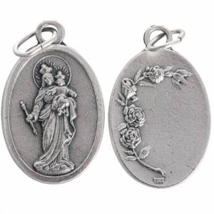 Mary Help of Christians medal, oxidised metal 20mm s1