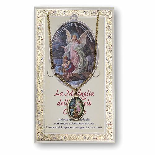 Medaglia Catenina Cartoncino Angelo Custode Angelo di Dio ITA s1