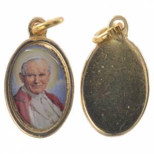 Medaglia Giovanni Paolo II metallo dorato resina 1,5x1 cm s1