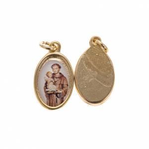 Medaglie: Medaglia Sant'Antonio da Padova metallo dorato resina 1,5x1 cm