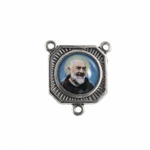 Eigenbau Rosenkränze: Medaille aus versilbertem Metall Pater Pio mit Maria