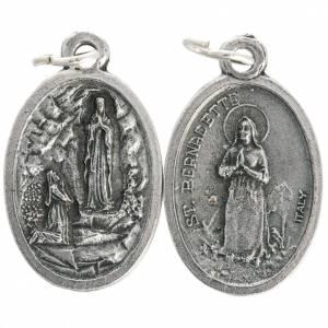 Medaillen: Medaille Madonna von Lourdes oval oxidiertes Metall 20 mm