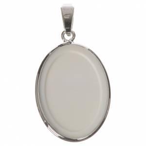 Médaille ovale argent 27mm Anges fleurs s2