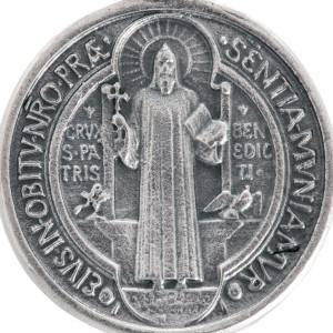 Médaille Saint Benoit métal argenté 3 cm s2