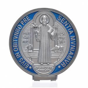 Benedikt Kreuze und Medaillen: Medaille Sankt Benedikt Zamak-Legierung versilbert 12,5 cm
