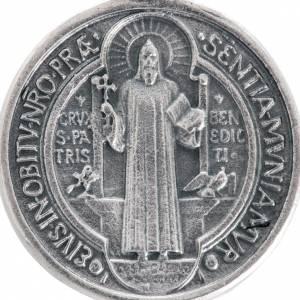 Medaliki: Medalik święty Benedykt metal posrebrzany 3cm