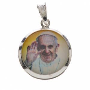 Colgantes, cruces y broches: Medalla colgante de Papa Francisco en plata 800