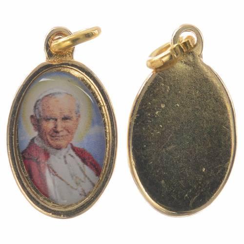 Medalla Juan Pablo II metal dorado resina 1,5x1cm s1