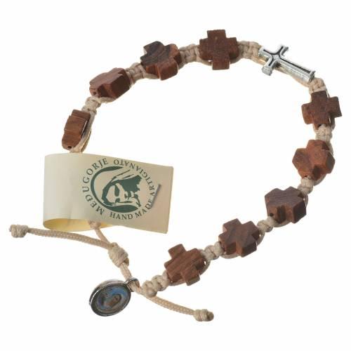 Medjugorje bracelet, heart olive wood grains, beige cord s1