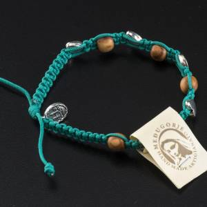 Medjugorje bracelet in olive wood with sea green cord s3