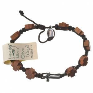 Medjugorje Bracelet, olive heart shaped grains brown cord s2