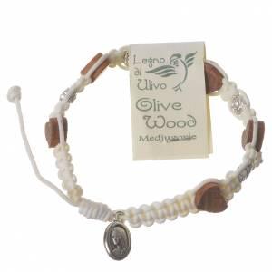Medjugorje Bracelet, olive wood rose white cord s2