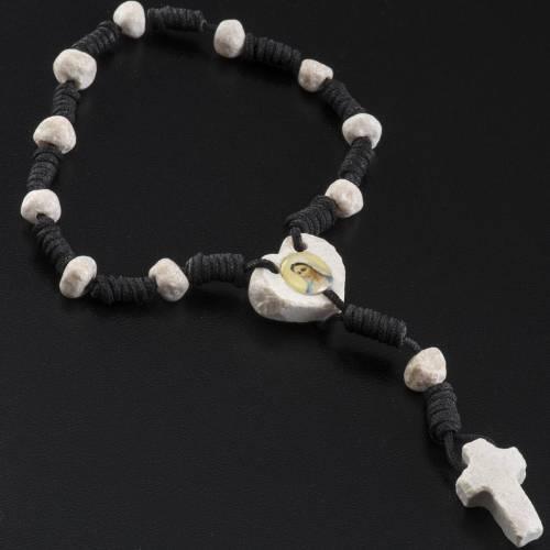 Medjugorje chaplet, stones, black cord, heart medal s3