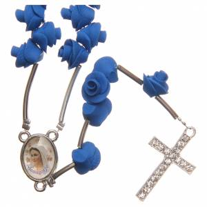 Rosaries and rosary holders: Medjugorje rosary beads with blue roses with cross in rhinestones