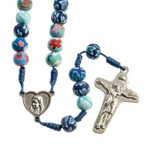 Rosaries and rosary holders: Medjugorje rosary in fimo, blue