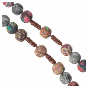 Rosaries and rosary holders: Medjugorje rosary in multicoloured fimo, brown cord