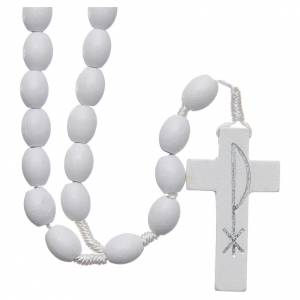 Rosaries and rosary holders: Medjugorje rosary in wood with white grains
