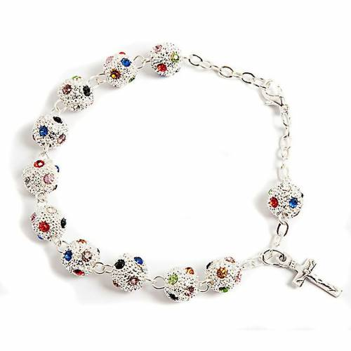 Metal and strass rosary bracelet s1