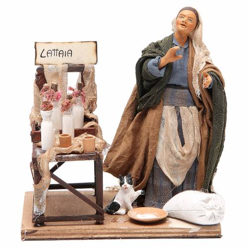 Milk seller with stall, animated Neapolitan Nativity figurine 14cm s1