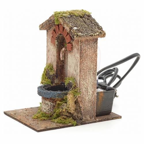 Mini fontaine avec toit pour crèche 15x10x13cm s2