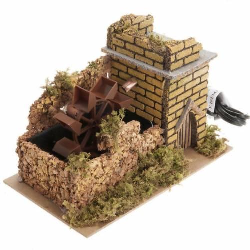 Mini moulin à eau avec pompe crèche Noel 17x25x15 s1