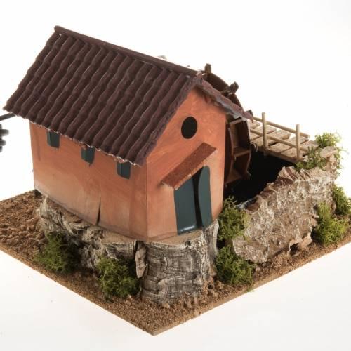 Mini moulin à eau et maison crèche Noel 24x29x29 s2