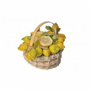 Mini panier citrons en cire pour crèche 10x7x8cm s2
