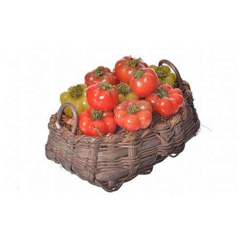 Mini panier tomates en cire pour crèche 10x7x8cm s2