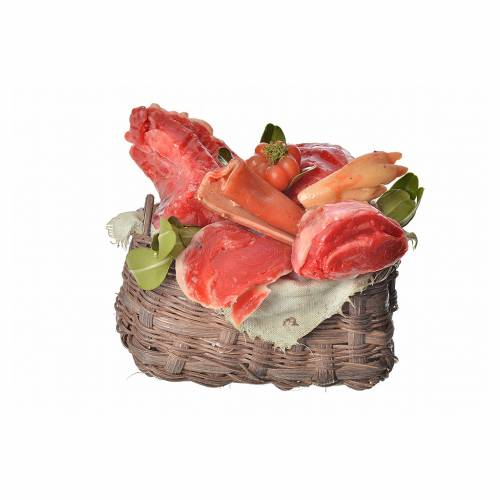 Mini panier viande en cire pour crèche 10x7x8cm s1