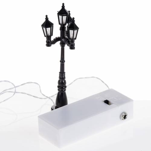 Mini réverbère 4 lumières à pile s3