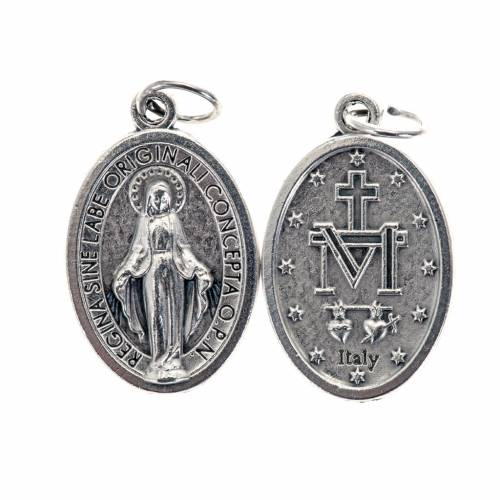 Miraculous Medal, oval in silver metal H21mm s1